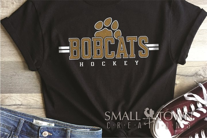 Bobcat Hockey, Paw Print, Sport, Team, PRINT, CUT & DESIGN