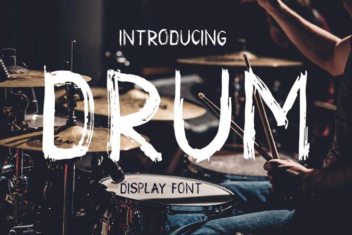 Drum. Handmade brush display font