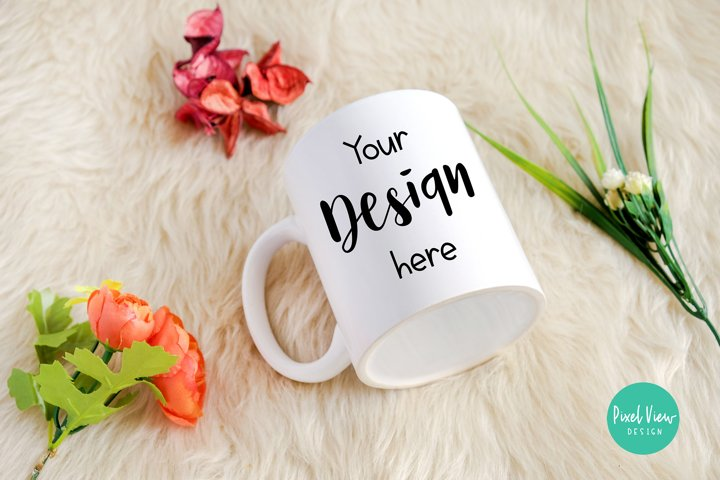 White Mug Mockup with Flowers