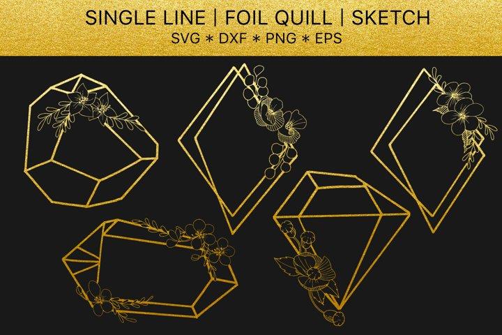 Foil quill svg golden crystals