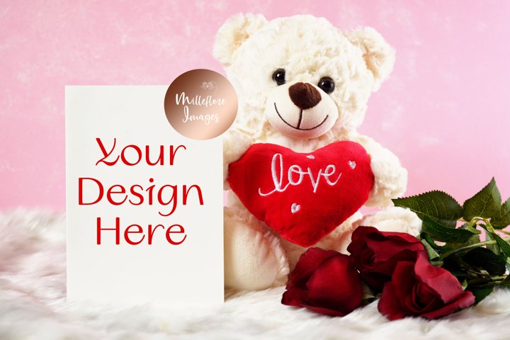 Valentine Love Greeting Card Teddy Bear Mockup Styled Photo