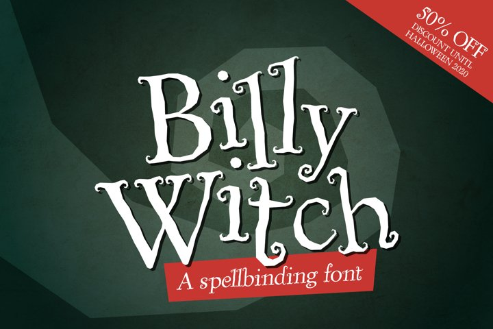 Billy Witch - a spellbinding swirly serif font