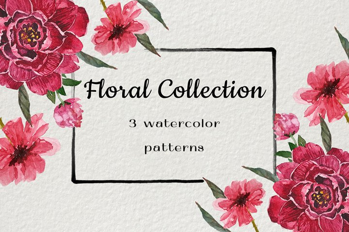 3 floral watercolor patterns