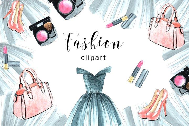 Watercolor Fashion Clipart, Watercolor Fashion Digital