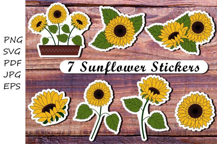 Sunflowers stickers. Sunflower png. Sunflower svg
