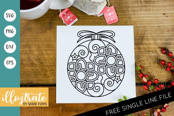 Christmas Bauble Mandala SVG | Christmas Mandala SVG Cut