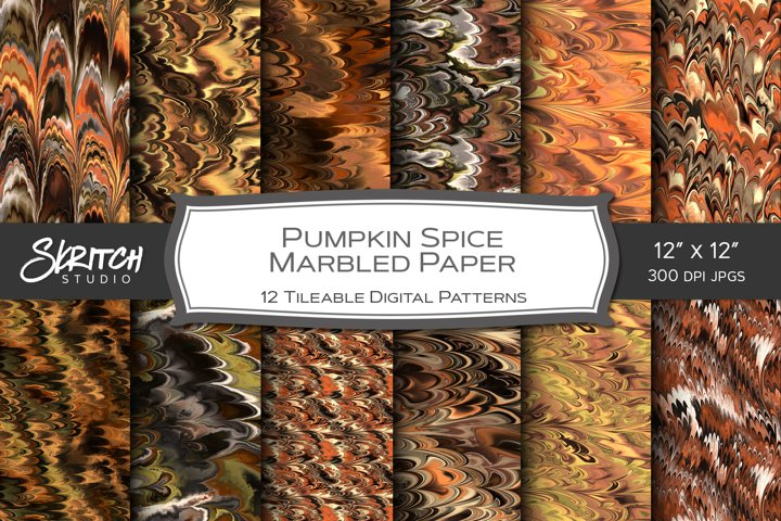 Pumpkin Spice Marbled Paper - 12 Seamless Tiling Patterns