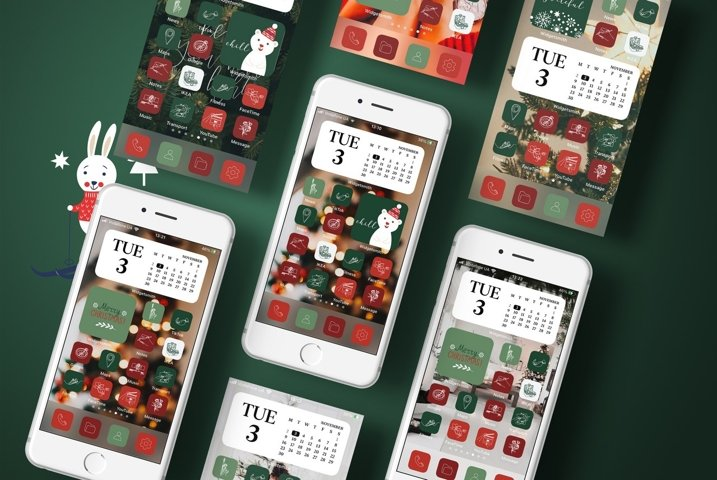 Christmas Aesthetic iOS 14 Icons, Holiday iPhone App Icon
