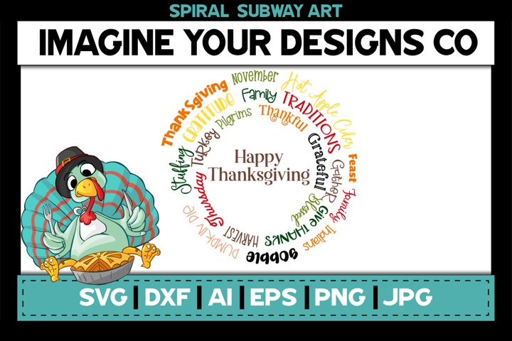 Thanksgiving Spiral Subway Art, SVG Cut File Sublimation