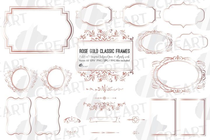 Rosegold classic frames, printable calligraphic swirls decor