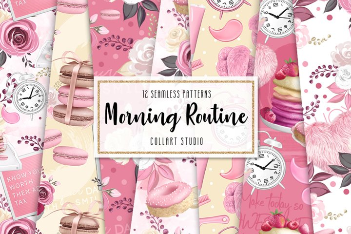 Breakfast digital paper, morning routine, girly papers