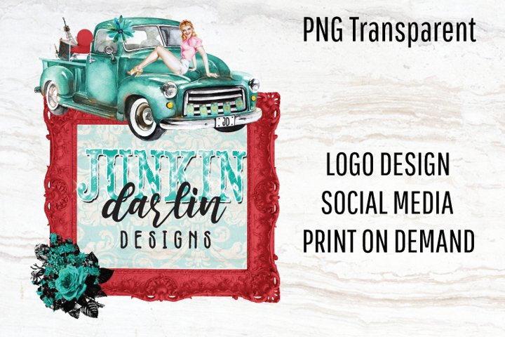 Vintage Logo, Retro Logo, Old Truck Png, Sublimation Design