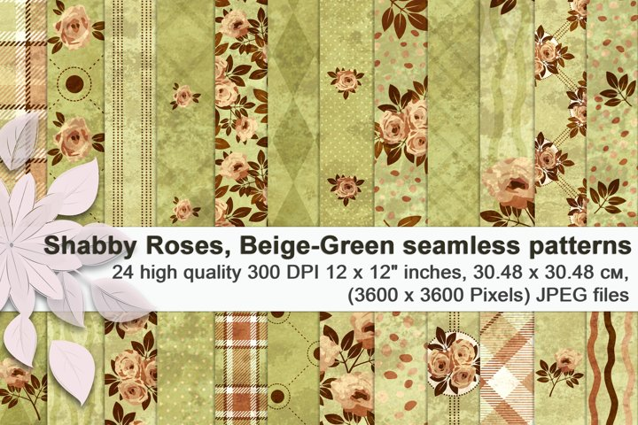 Shabby Roses, beige and green seamless patterns.