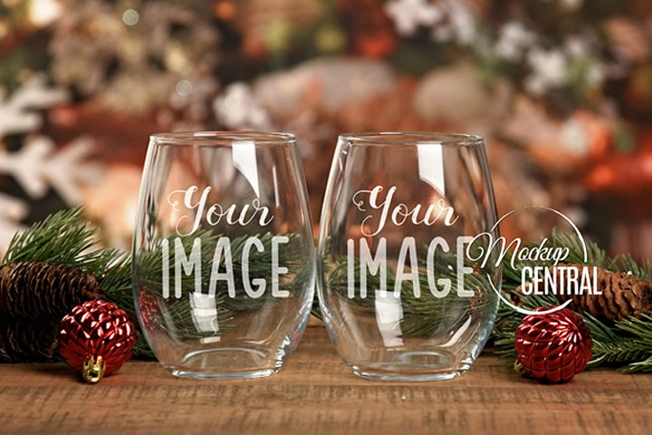 Christmas Stemless Wine Glass Mock Up Glasses, JPG Mockup