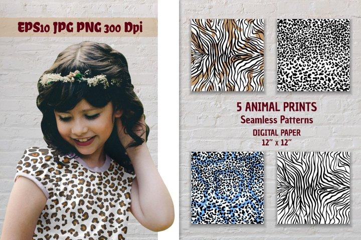 Animal skin seamless patterns. Digital paper animal prints.