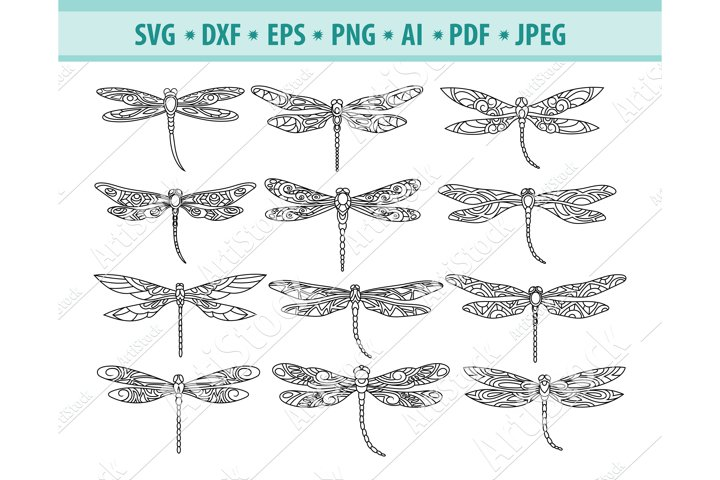 Dragonfly Svg, Linear dragonfly Svg, Insect Png, Eps, Dxf