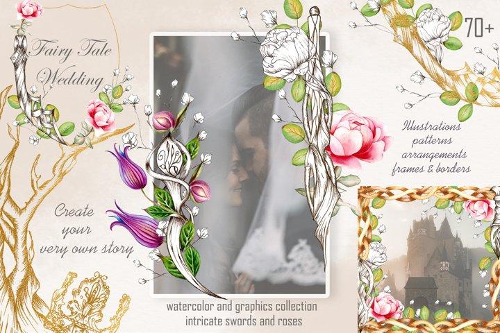 Fairy Tale Wedding illustration, graphics, watercolor bundle