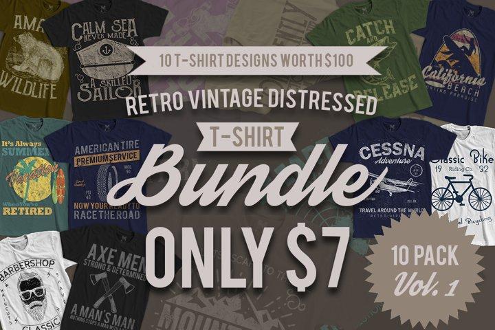 Retro Vintage T-Shirt Designs 10 Pack Vol. 1