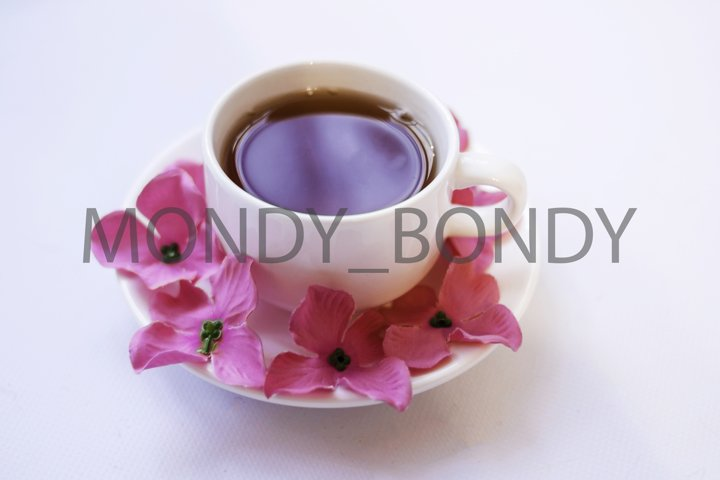 White cup of tea with a saucer, closeup, pink flowers.