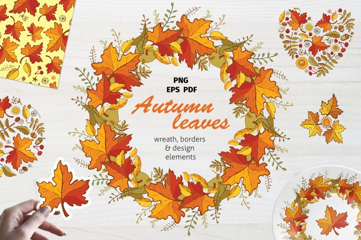 Fall Leaves Clipart, Autumn Maple Leaves PNG