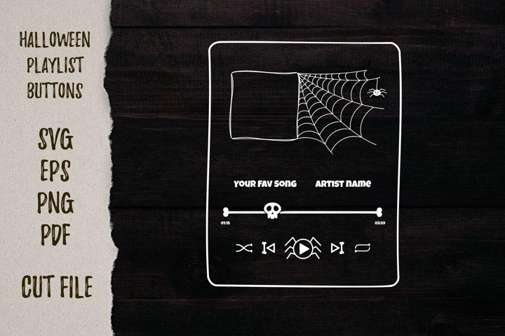 Halloween music playlist svg template|Player button cut file