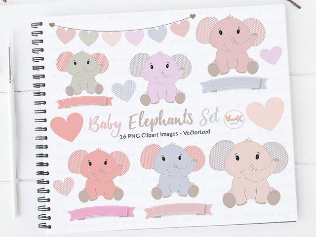 Cute Elephants Clip Art, Elephant Clipart set, Baby Girl Shower, Pink Elephants Clipart, Nursery Scrapbooking, New Baby Girl