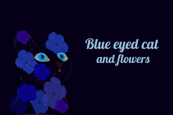 Blue eyed cat and flowers