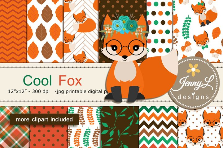 Woodland Fox Digital Papers and Clipart