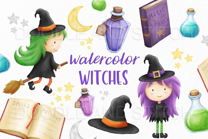 Watercolor Witch Clip Art Illustrations