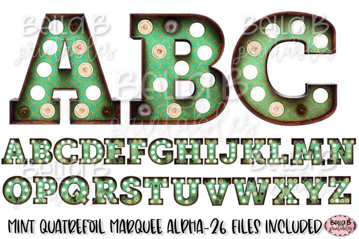 Mint Quatrefoil Marquee Alphabet Letters, Sublimation Letter