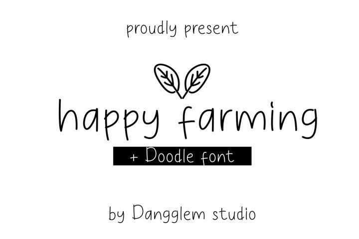 happy farming font bonus doodle font