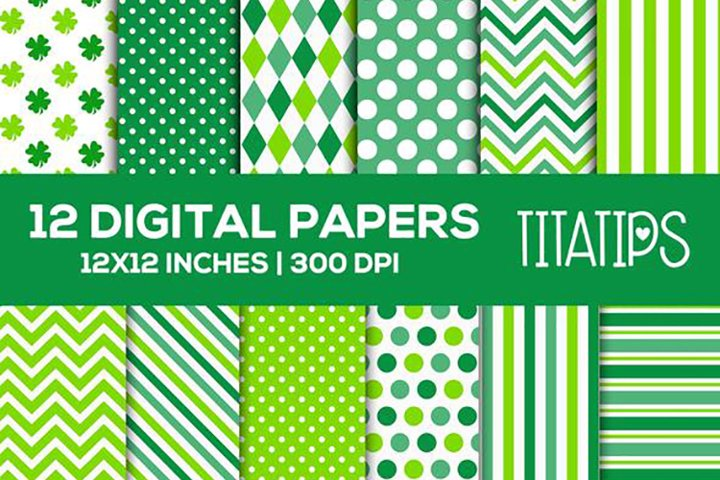 St. Patrick's Day Digital Papers Set, Shamrock Patterns example