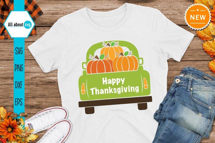 Thanksgiving truck With Pumpkins Svg