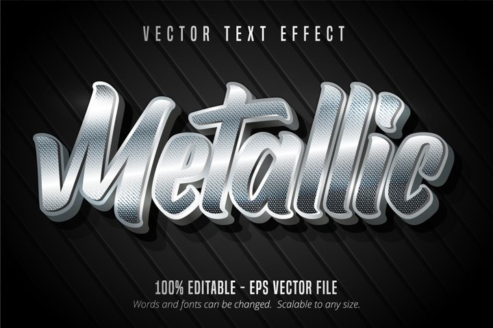 Metallic text, silver style editable text effect