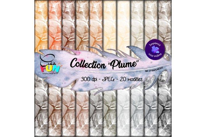 Lot de 20 papiers numériques - Collection Plume 05