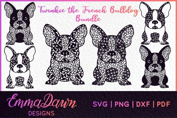 FRENCH BULLDOG BUNDLE 6 DESIGNS SVG, DXF, PNG, PDF, FCM