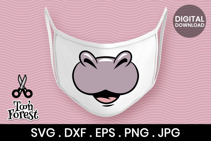 Hippo nose SVG, DXF, EPS, and PNG cut files for face mask