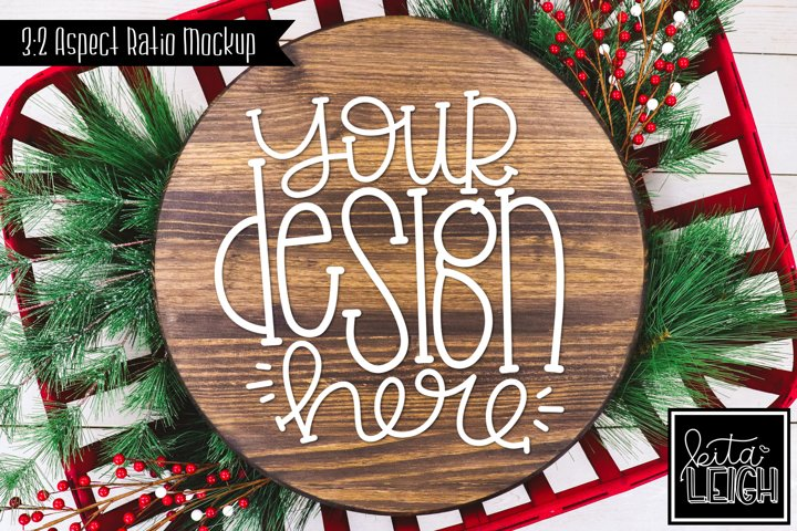 Wood Round Christmas Mockup with Holly