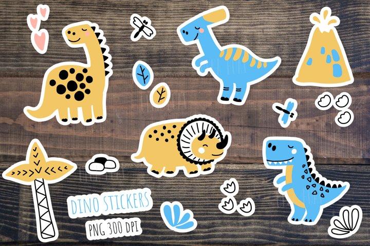 Dinosaur stickers. Dinosaur clipart. Dinosaur bundle