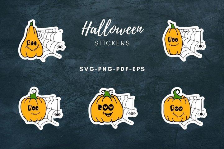 Halloween boo stickers Pumpkin boo emoji Print & Cut Stickes