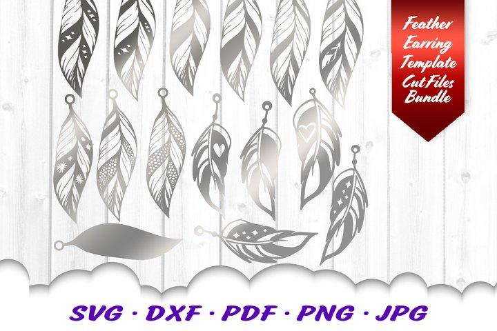Feather Earring Earrings Template SVG DXF Cut Files Bundle