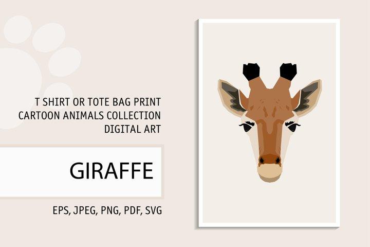 Giraffe portrait. Digital art for t shirt, tote bag print.