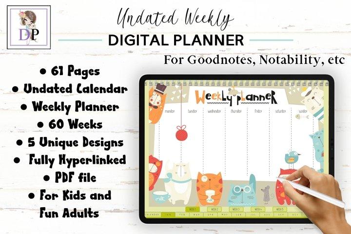Fun Undated Weekly Digital Planner PDF CLICKABLE links v3