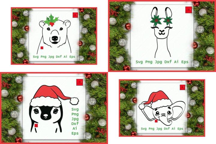 Christmas ANIMAL,MEGA BUNDLE, Llama, Penguin, Bear, Elephant