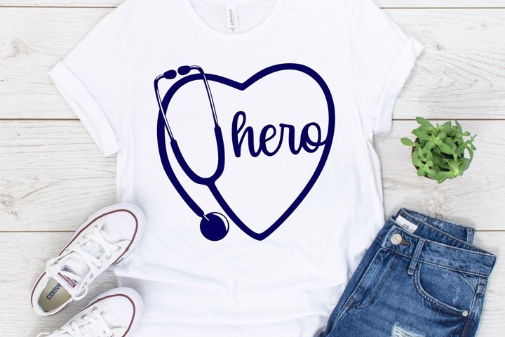 Stethoscope Heart Hero SVG DXF PNG example