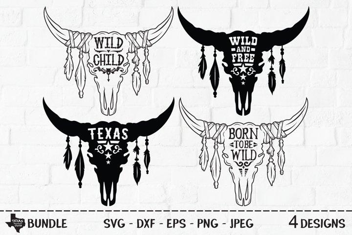 Bull Skull Bundle SVG, Cut File, Country Shirt Designs