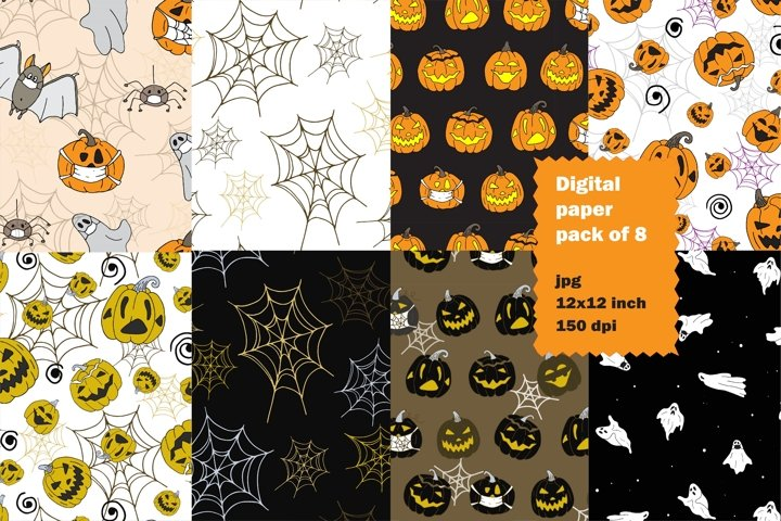 Halloween digital paper, funny seamless pattern pack of 8