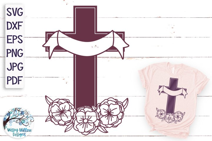 Floral Cross with Draped Ribbon SVG | Cross With Flowers SVG