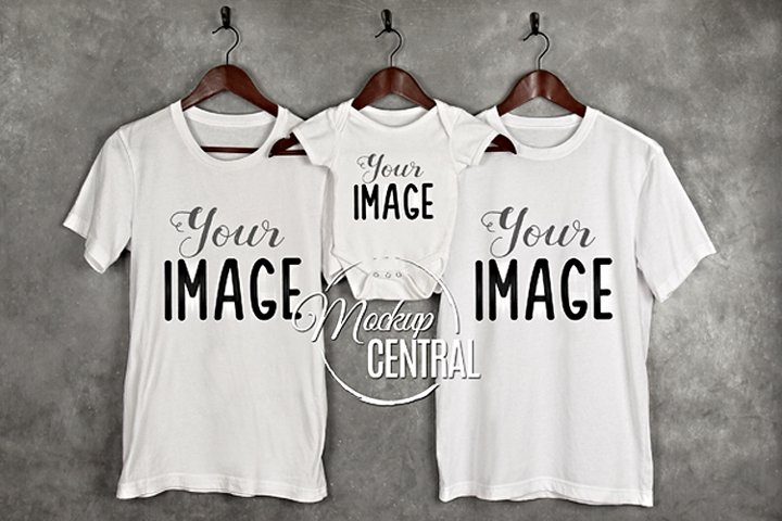 Family Mockup on Hanger, Mother, Father & Baby Mock Up Shirt