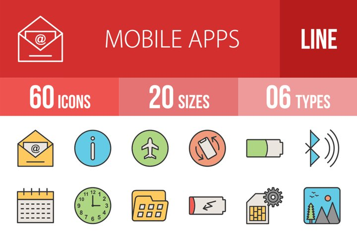 110 Mobile Apps Filled Line Icons Season II